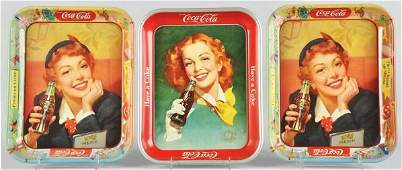 1049 Lot of 3 Assorted CocaCola Serving Trays