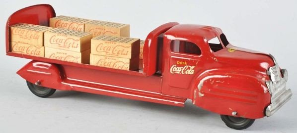 1115: Red Lincoln Coca-Cola Toy Truck.