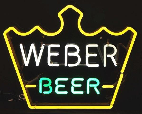 1630: Weber Beer Crown Neon Sign.
