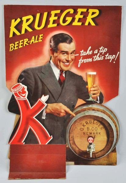 1795: Cardboard Krueger Beer Sign.