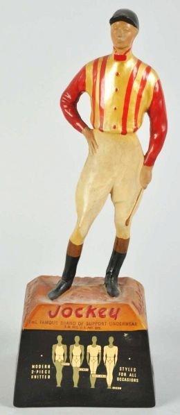1908: Hard Rubber Jockey Underwear Statue.