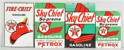 2151: Lot of 4: Porcelain Texaco Gas Signs.