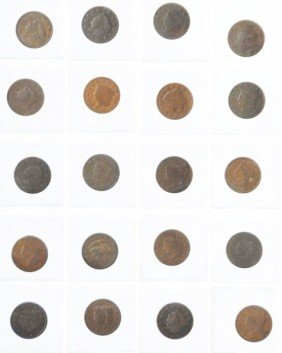 5: Lot of 40: Large Cent Coins.