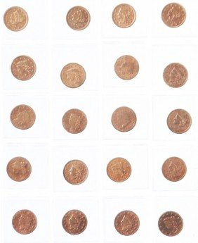 Lot Of 23: Large Cent Coins.