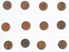 7: Lot of 22: Large Cent Coins.