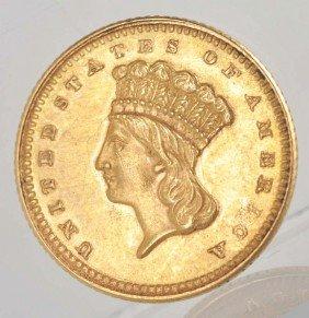 8: 1861 Indian Head Large Head Gold  Dollar AU+.