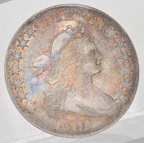 20: 1805 Bust Heraldic Half Dollar Fine+.