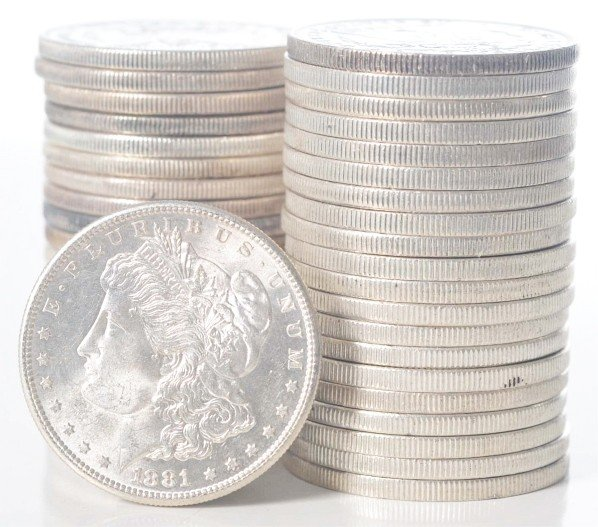 62: 1881 O & 1881 S Morgan Silver Dollar Rolls.