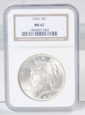 1924 Peace Silver Dollar NGC MS 67.