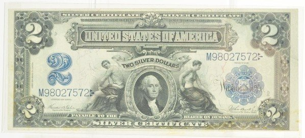 123: $2 Silver Certificate 1899 AU.