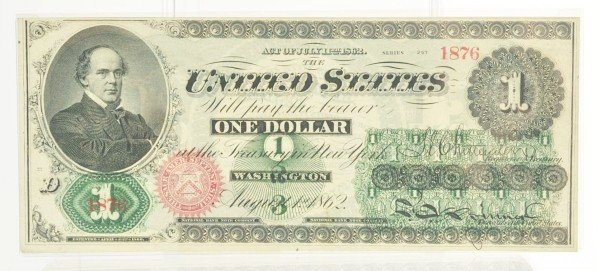 126: $1 US Note 1862 Ch. UNC.