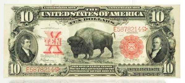 129: 1901 $10 United States Note with Bison.