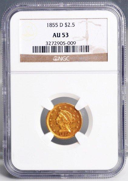 140: 1855 D $2-1/2 Gold Liberty NGC AU 53.