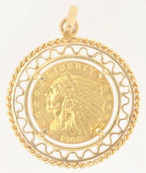 143: 1908 $2-1/2 Gold Liberty with Bezel.