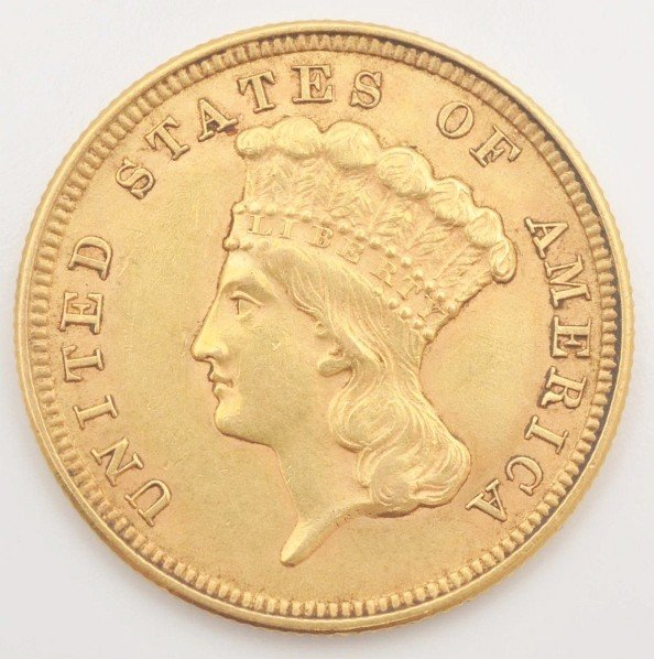 147: 1854 $3 Gold Coin XF 45+.