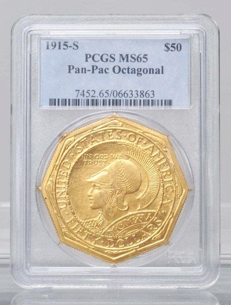217: 1915 S Panama Pacific Octagonal $50 Gold Coin.