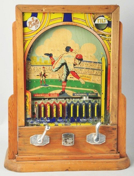 801: Vintage Baseball Coin-Op Machine.