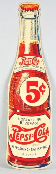 2: Tin Pepsi-Cola Bottle Cutout Sign.