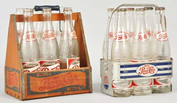 6: Lot of 2: Pepsi-Cola 6-Pack Carriers & Bottles.