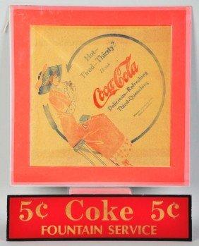 Early Coca-Cola Rice Paper Napkin.