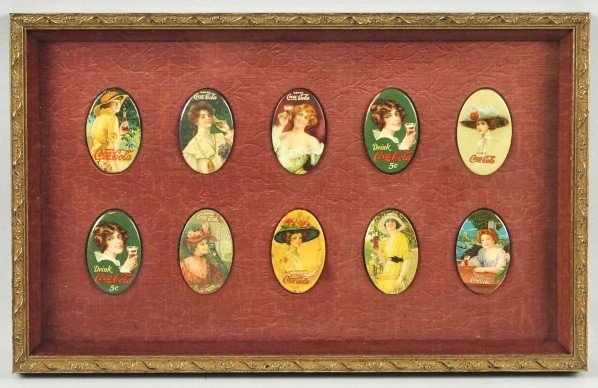 16: Framed Set of 10 Coca-Cola Pocket Mirrors.