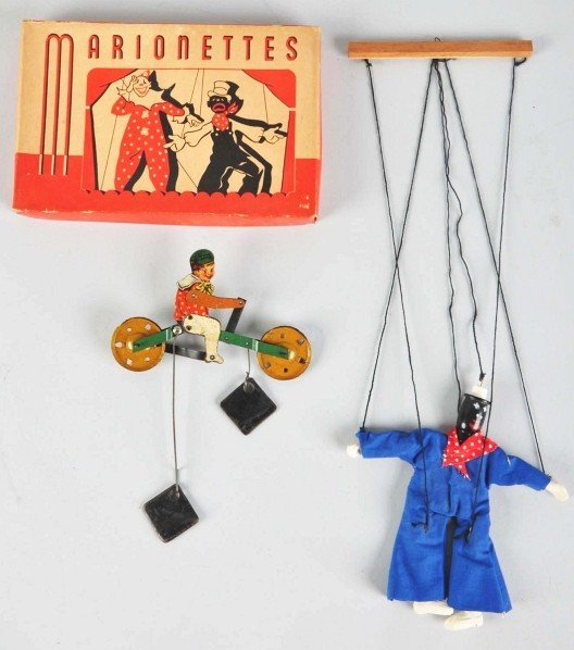 702: Lot of 4: Early Tin & Wood Toy Items.