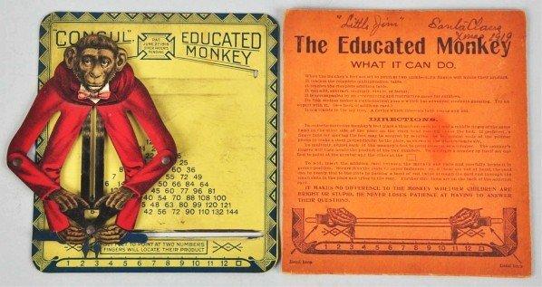703: Tin Litho Educated Monkey Toy.