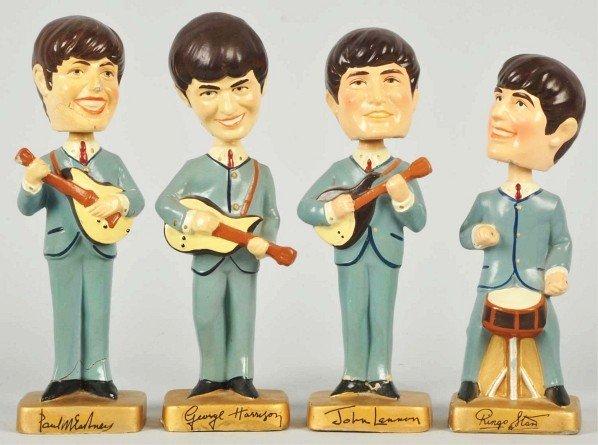 711: Set of Vintage Beatles Bobbing Head Mascot Dolls.