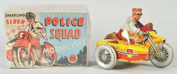 748: Tin Marx Police Squad Motorcycle Wind-Up Toy.