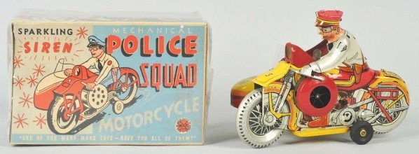 748: Tin Marx Police Squad Motorcycle Wind-Up Toy. - 2