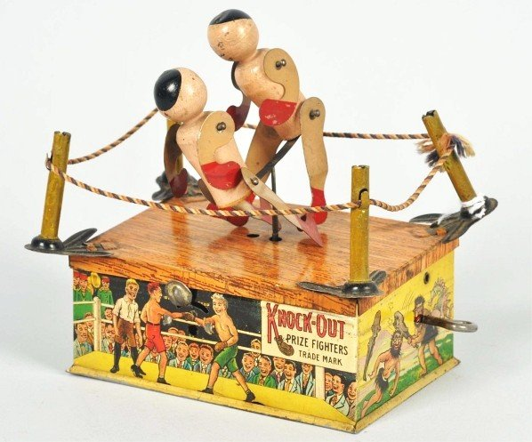781: Tin Litho Strauss Knock-Out Boxing Wind-Up Toy.