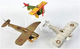 786 Lot of 3 Tin Airplane WindUp Toys