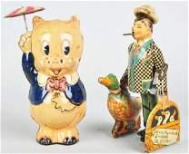 886 Lot of 2 Tin Litho Marx Character WindUp Toys