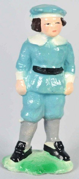 1401: Cast Iron Hubley Boy in Blue Uniform Paperweight.
