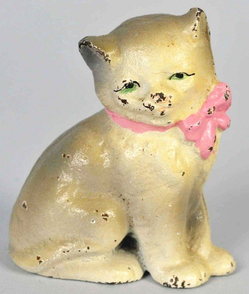 1406: Cast Iron Hubley No. 195 Kitty Paperweight.