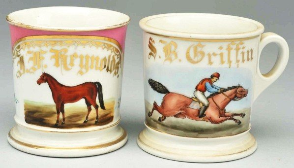 9: Lot of 2: Horse Shaving Mugs.