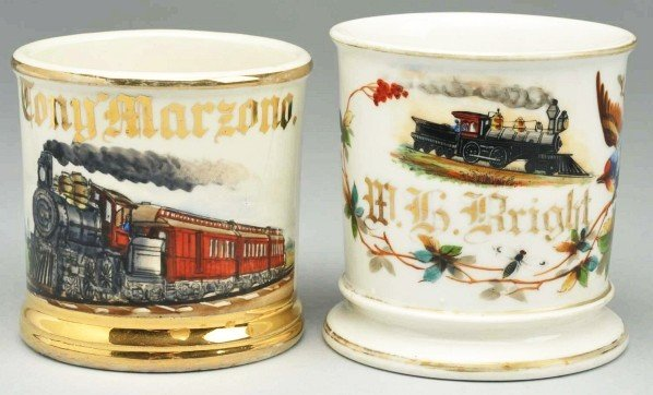 11: Lot of 2: Train Shaving Mugs.
