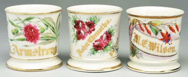 13: Lot of 3: Floral Shaving Mugs.