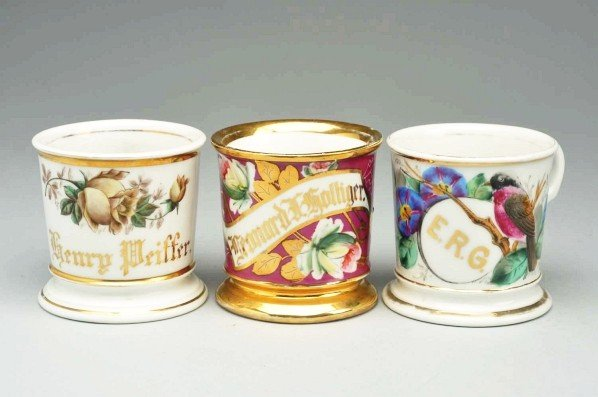 14: Lot of 3: Floral Shaving Mugs.