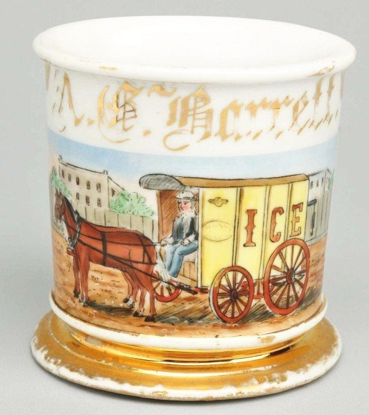 88: Horse-Drawn Ice Wagon Shaving Mug.