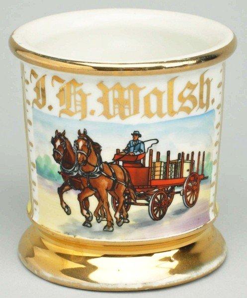 91: Horse-Drawn Delivery Wagon Shaving Mug.