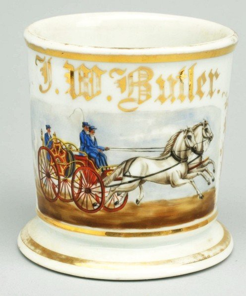 92: Horse-Drawn Fire Pumper Shaving Mug.