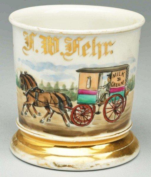 95: Horse-Drawn Milk & Cream Wagon Shaving Mug.