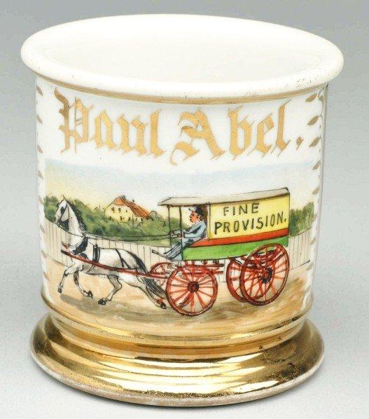 96: Horse-Drawn Fine Provision Wagon Shaving Mug.