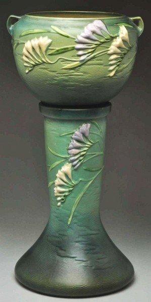 290: Roseville Green Freesia Jardiniere & Pedestal.
