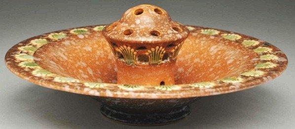 294: Roseville Ferella Center Bowl & Flower Frog.
