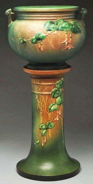 296: Roseville Fuchsia Green Jardiniere & Pedestal.