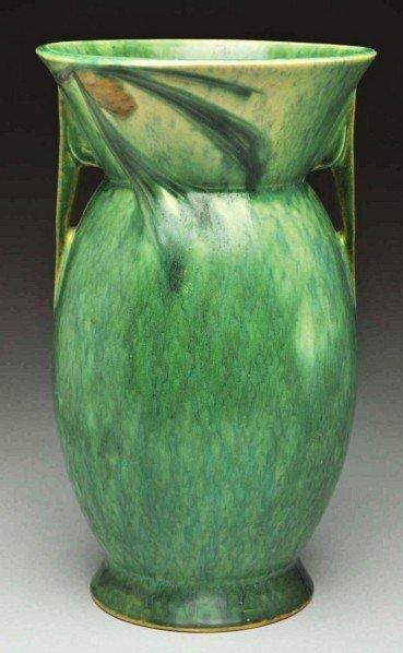 """297: Roseville Futura """"Pine Cone"""" Vase."""