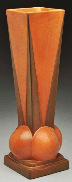 """299: Roseville Futura """"Four Ball"""" Vase."""