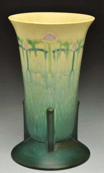 """300: Roseville Futura """"Purple Crocus"""" Vase."""